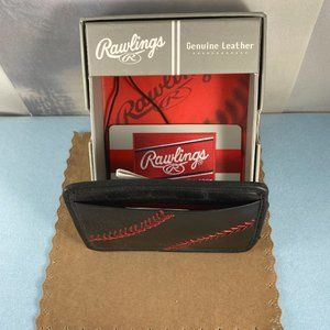 Rawlings Bags - Baseball Stitch Front Pocket Wallet Black and Red